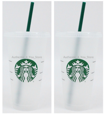2 PACK SET Starbucks Reusable Plastic 24oz Cold Cup Venti Size with Lid & Straw
