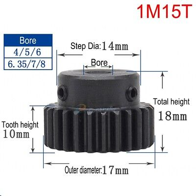 1Mod 15T Spur Gear 45# Steel Motor Pinion Gear Outer Dia 17mm Bore 8mm x 1Pcs