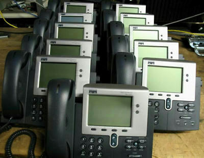 Lot of 10 Cisco CP-7941G 2 Button SCCP VoIP PoE Phone HandSet (SIP Availble)