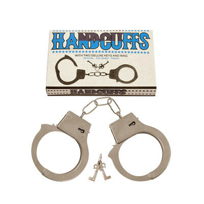 Metal Toy Double Lock Handcuffs With Two Deluxe Keys Hen Party Accessory