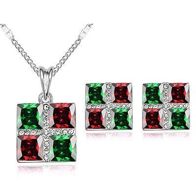 Green Red Square Silver Jewellery Set Stud Earrings Pendant Necklace Chain S755