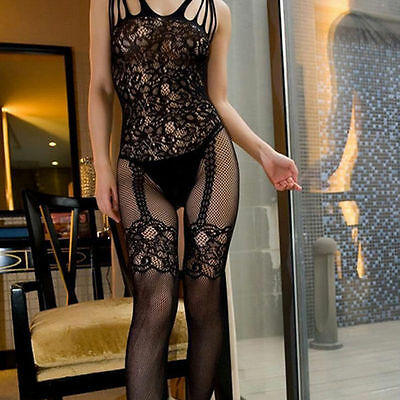 Women Fishnet Sheer Open Crotch Body Stocking Suit Mesh Lingerie Dress Set Sexy