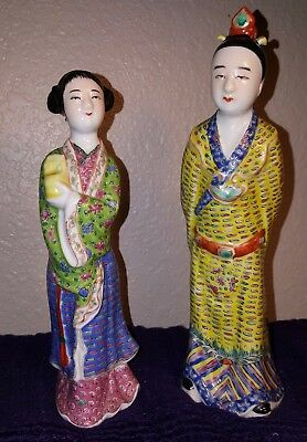 Vintage Pair of Chinese Porcelain Man & Woman Famille Rose Figurines