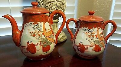 Vintage Japanese KUTANI Porcelalin Teapot and Sugar Bowl