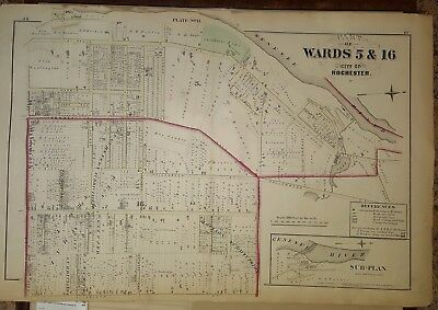 1875 Plat Map CITY OF ROCHESTER, NY MAP Parts of Ward 5 & 16 G M Hopkins Co