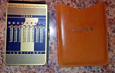 Vintage Tower Adding And Subtracting Machine Genuine Leather Case West Germany