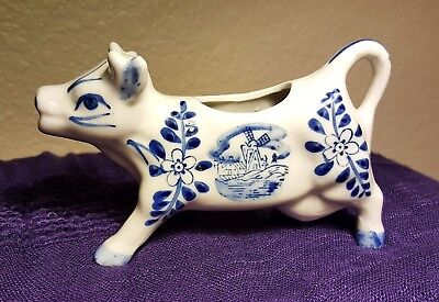 Vintage Delft Figurine Porcelain Cow Creamer Blue & White Windmill Flowers 5 oz