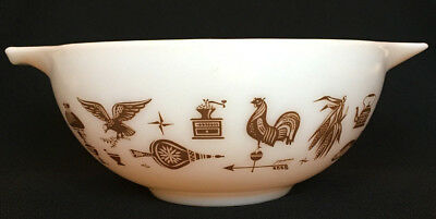 Vintage Pyrex Americana Cinderella Nesting Mixing Bowl Rooster Brown and White
