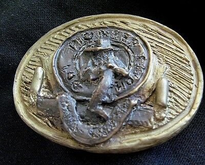 Pioneer Log Homes Vintage Handmade Brass Belt Buckle Artist Signed