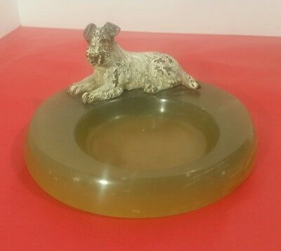 Early 1900's Vienna Bronze Schnauzer on Onyx Ring Tray
