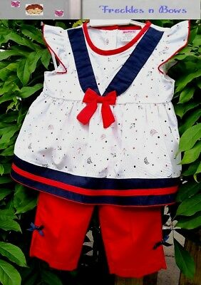Baby Girls Dress - Navy & White Sailor & Pants Set By Baby C Pie Free post