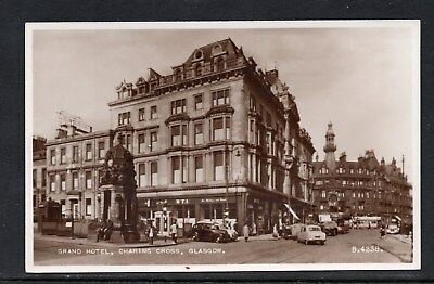 Grand Hotel Charing Cross Glasgow Unposted RP Card Tram & Vintage Cars See Scan