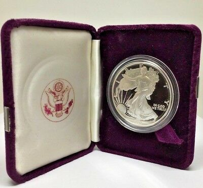 1990's Walking Liberty .999 Fine Silver Proof Round Coin 1 Oz w Velvet Mint Case
