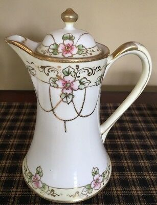Antique  Noritake Nippon Hand Painted Beautiful Tea/ Chocolate Pot. Exc. Con.