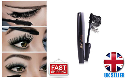 4D Silk Fiber Eyelash Mascara Extension Makeup Black Waterproof Kit EyeLashes UK