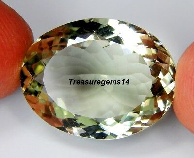 22Ct Ring Size Natural Vvs Green Amethyst Oval Cut Faceted Cabochon Gemstone C27
