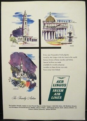 Vintage Advertisement AER LINGUS Irish Air Lines Ireland to Holy Europe 1960 7x9
