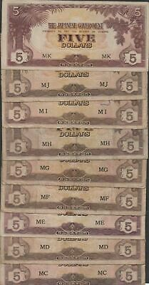 Malaya  $5  ND. 1944  M 6b,c Military Currency WWII issue Circulated  Banknotes