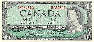 Canada    $1  1954  P 75c  Series T/F  Que. II   Circulated Banknote