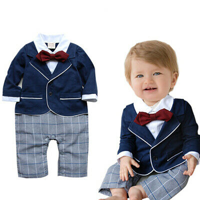 Baby Boy Bow Tie Long Sleeve Gentleman Tuxedo Bodysuit Outfit 6 months- 2 years
