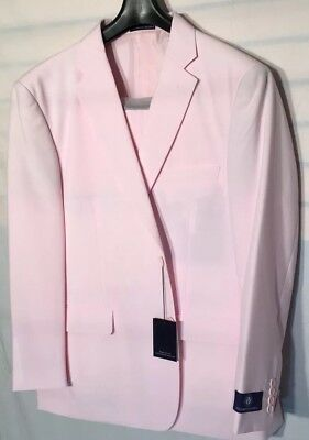 NEW Mens 3 Button Suit Vittorio St. Angelo Solid Color Pink Size 48R/42W $134.99