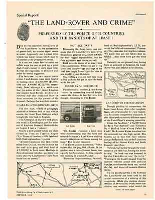 1964 Land Rover And Crime  ~  Nice Original 2-Page Print Ad