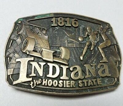 ADM Commemorative 1816 INDIANA The Hoosier State SOLID BRASS Belt BUCKLE