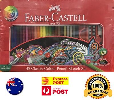 Faber-Castell Classic Colour Pencil 48 Colors Tin Case Drawing Painting Quality