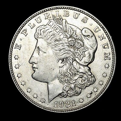 1921 D ~**ABOUT UNCIRCULATED AU**~ Silver Morgan Dollar Rare US Old Coin! #V16