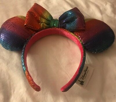 Disney Parks Minnie Mouse Ears Headband Rainbow Sequin with Bow NEW ITEM!