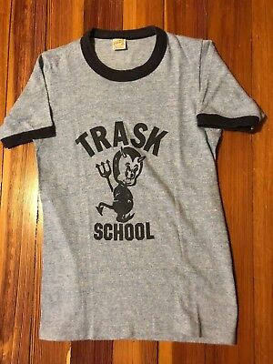 VTG 80s Youth Kids Trask School Tri-Blend Ringer T-Shirt Plainville Connecticut
