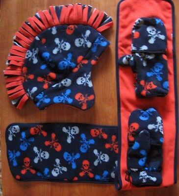 4 Pc New Gap Boys Blue Orange Winter Fleece Mohawk Hat Gloves Scarf Large