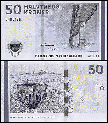 Denmark 50 Kroner Banknote, 2009, P-65a, UNC, Bridge of Sallingsund, Jar, Map
