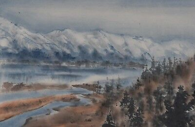 Stephen Lowe 1938-75 Chinese Watercolour Landscape Canadian Listed Watercolor