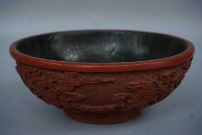 Chinese Exquisite Hand-carved Dragon carving lacquerware bowl