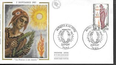 FR429) France 1985 France To Her Dead Silk FDC $4.00