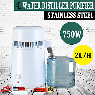 4L Water Distiller Purifier Stainless Steel Distilled Purified Home Medical