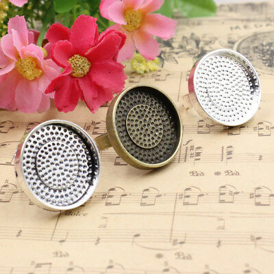 Fit 25mm Cabochons Metal Alloy Round Blank Setting Bezel Cabochon Ring Base For