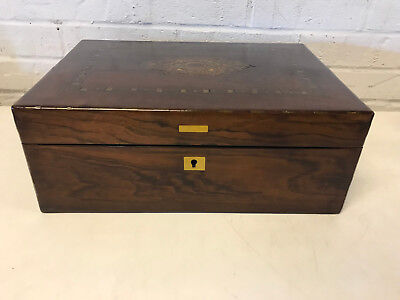 Antique 19th Century Rosewood Lap Desk Wood Box Brass Inlay & Floral Decoration