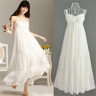 Womens' White Adjustable Sling Fashion Long Sleeveless Strapless Beach Dress S L