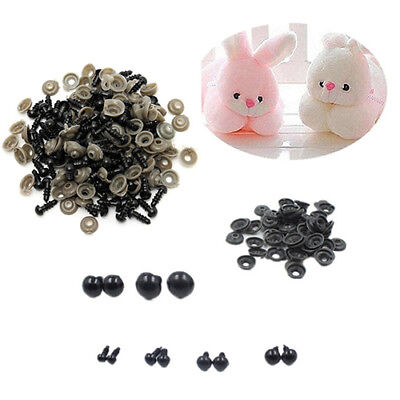 KF_100X Black Plastic Toy Eyes Safety  DIY 6-14mm for Teddy Bear Animal Dolls