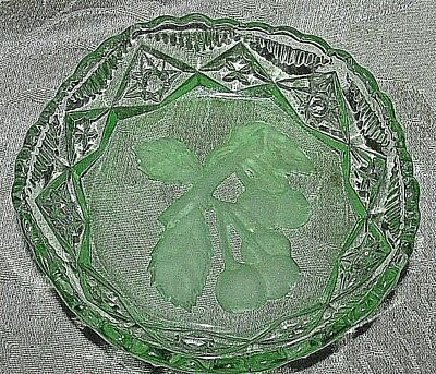 Antique Depression Green Glass Frosted Fruit Cherries Centre Dish Bowl 11CmW