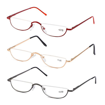 28a3bb4ed1 Gunmetal Vintage Half Moon Semi Rimless Reading Glasses Spring Hinge New  Readers