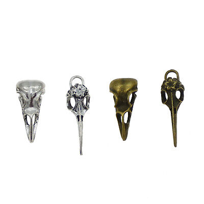 Lot of 4 Mix Vintage Metal Gothic Bird Skull Charms Pendants DIY Jewelry Making