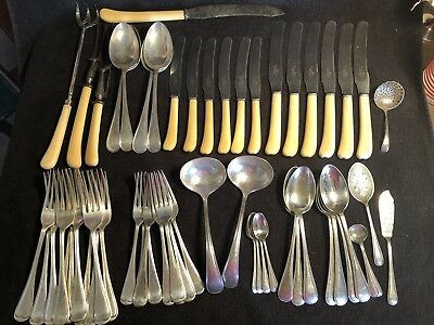 Antique Walker & Hall Silver Plated Part Cutlery Set 58 Pieces