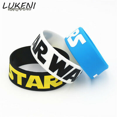 LUKENI 1PC Wide Band Star Wars Silicone Wristband Bracelet 3 Colours Available f