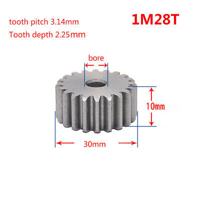 1Mod 28T Spur Gear 45# Steel Pinion Gear Thickness 10mm Outer Dia 30mm x 1Pcs