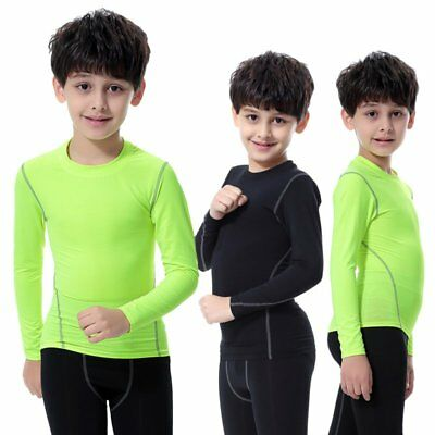 AU Boys Girls Kids Base Layer Long Sleeve Compression Thermal Sports Tee Tops