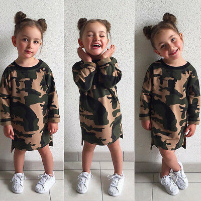 Baby Girl Kids Dresses Long Sleeve Summer Sundress Camouflage Dress Clothes 1-6Y