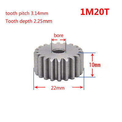 1Mod 20T Spur Gear 45# Steel Pinion Gear Thickness 10mm Outer Dia 22mm x 1Pcs